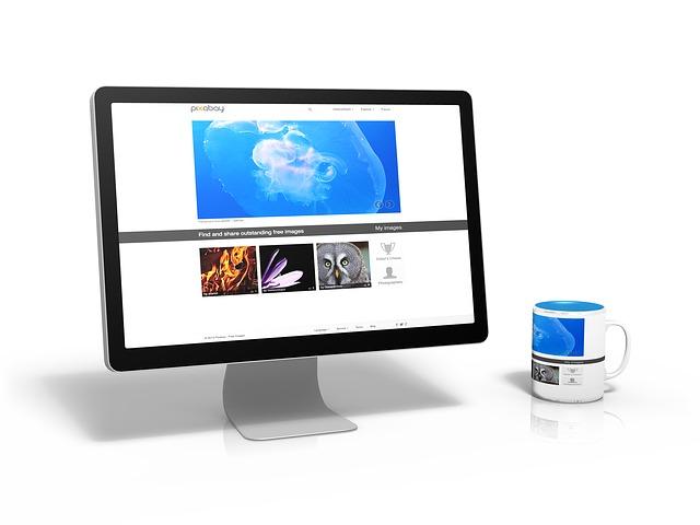 monitor, hrnek, obrázky